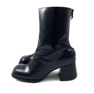 VTG 90's black chunky heel patent leather boots